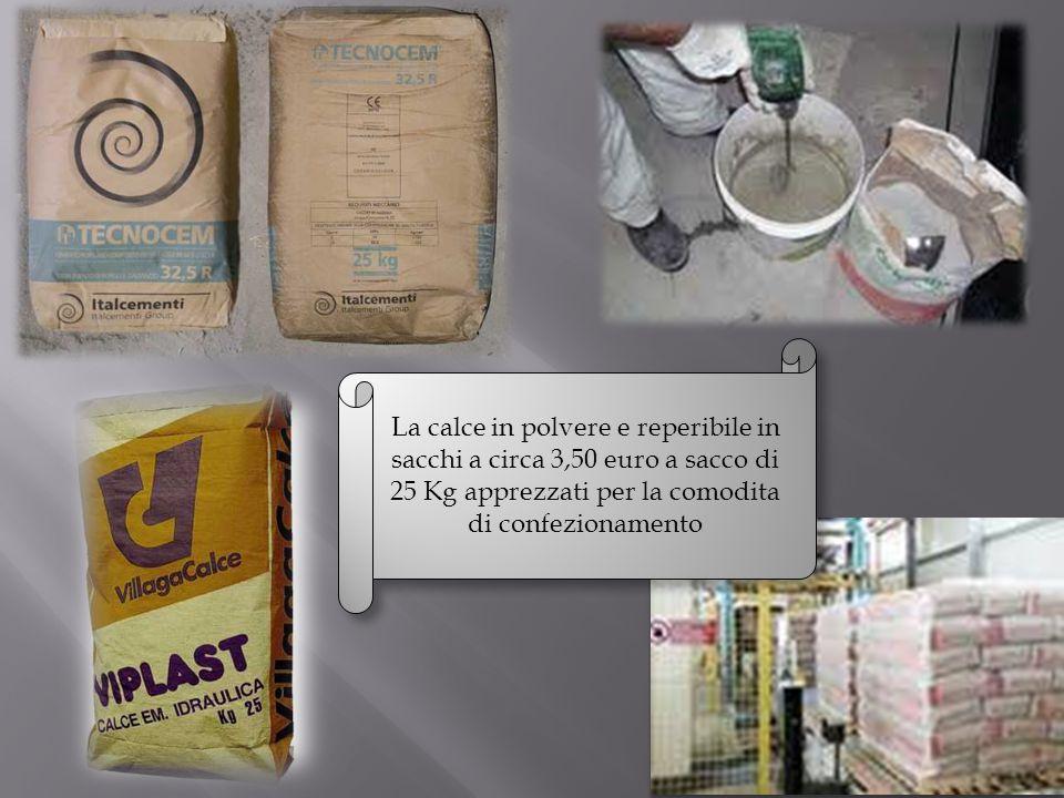 La calce in polvere e reperibile in sacchi a circa 3,50 euro a sacco di 25 Kg apprezzati per la comodita di confezionamento