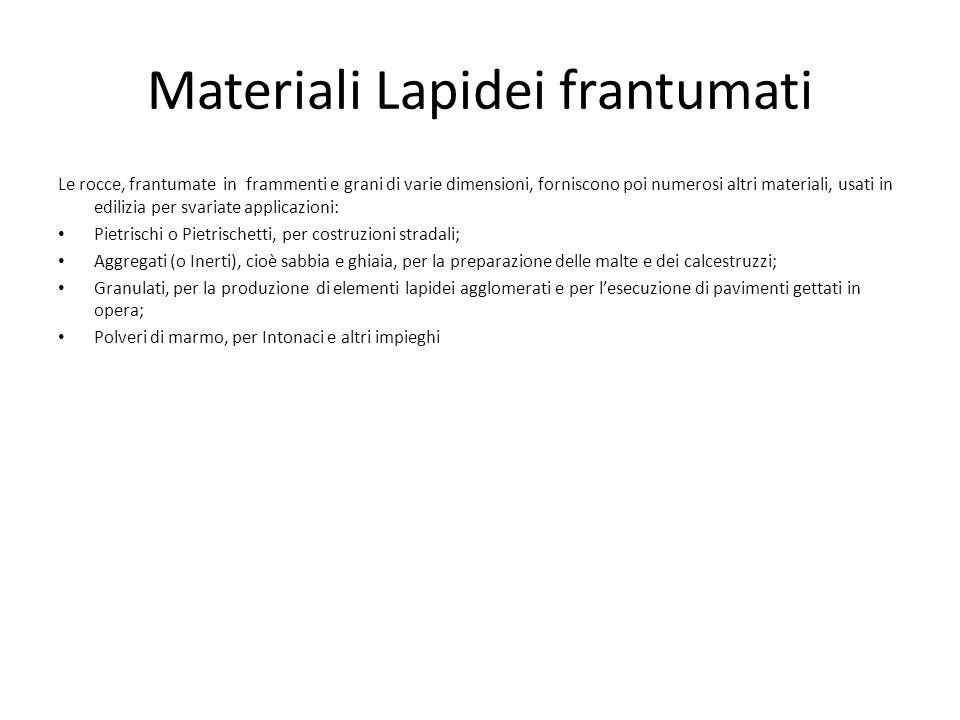Materiali Lapidei frantumati Le rocce, frantumate in frammenti e grani di varie dimensioni, forniscono poi numerosi altri materiali, usati in edilizia