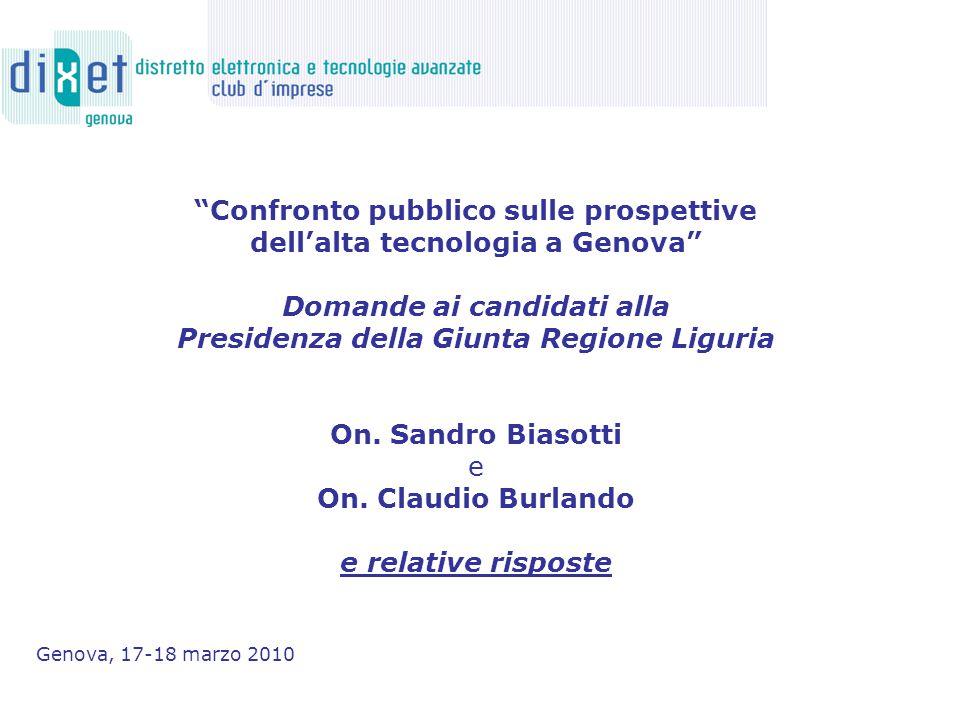 Confronto pubblico sulle prospettive dell'alta tecnologia a Genova Domande ai candidati alla Presidenza della Giunta Regione Liguria On.