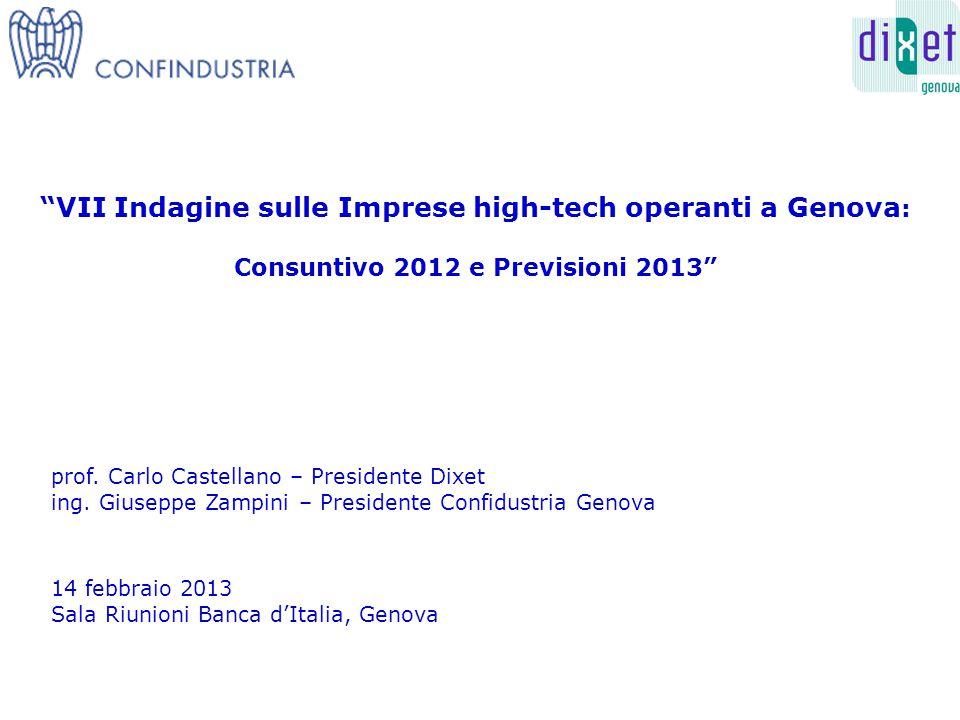 VII Indagine sulle Imprese high-tech operanti a Genova : Consuntivo 2012 e Previsioni 2013 14 febbraio 2013 Sala Riunioni Banca d'Italia, Genova prof.