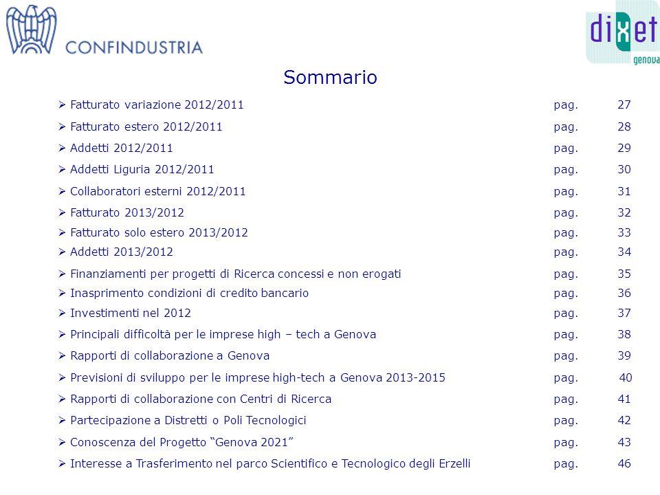 Sommario  Fatturato variazione 2012/2011pag. 27  Fatturato estero 2012/2011pag.
