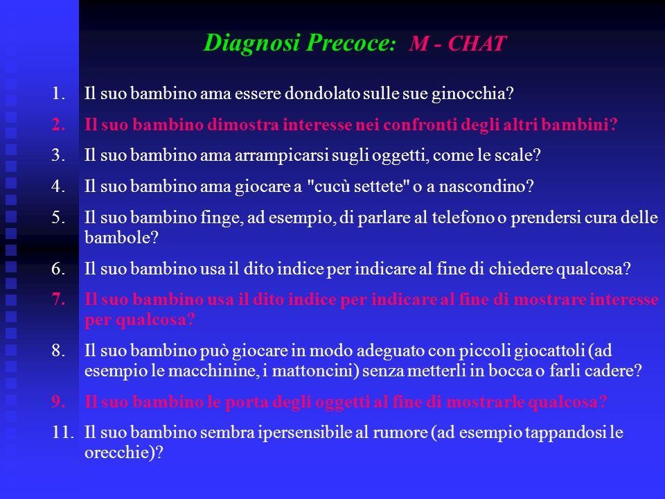 Diagnosi Precoce : M - CHAT 1.Il suo bambino ama essere dondolato sulle sue ginocchia? 2.Il suo bambino dimostra interesse nei confronti degli altri b