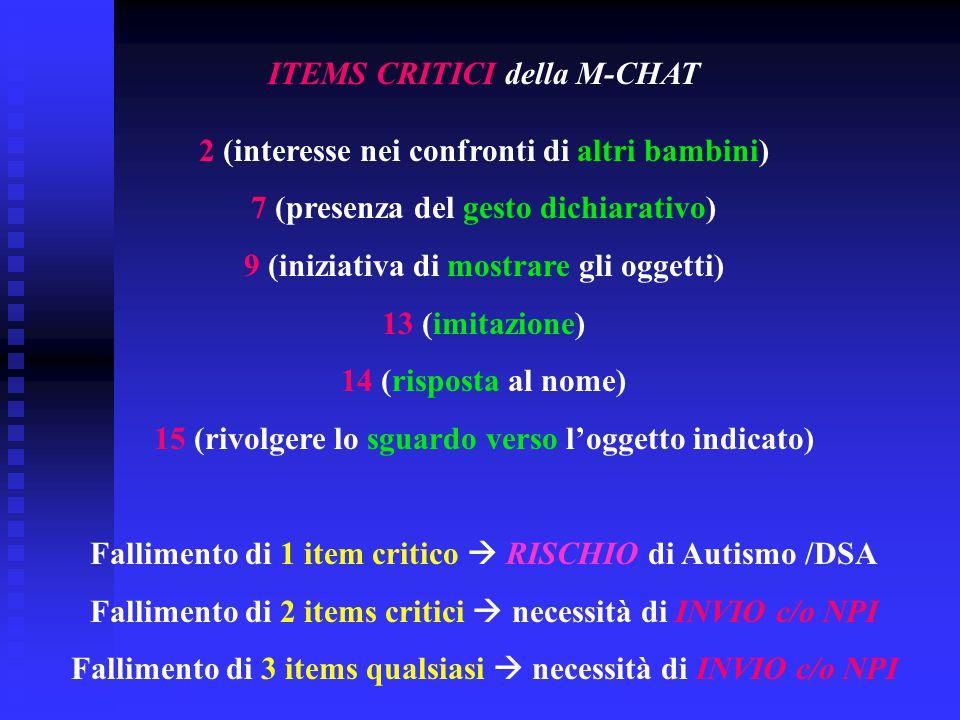 ITEMS CRITICI della M-CHAT 2 (interesse nei confronti di altri bambini) 7 (presenza del gesto dichiarativo) 9 (iniziativa di mostrare gli oggetti) 13