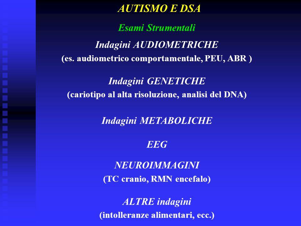 Esami Strumentali Indagini AUDIOMETRICHE (es. audiometrico comportamentale, PEU, ABR ) Indagini GENETICHE (cariotipo al alta risoluzione, analisi del