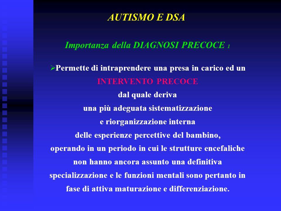 Importanza della DIAGNOSI PRECOCE 1  Permette di intraprendere una presa in carico ed un INTERVENTO PRECOCE dal quale deriva una più adeguata sistema
