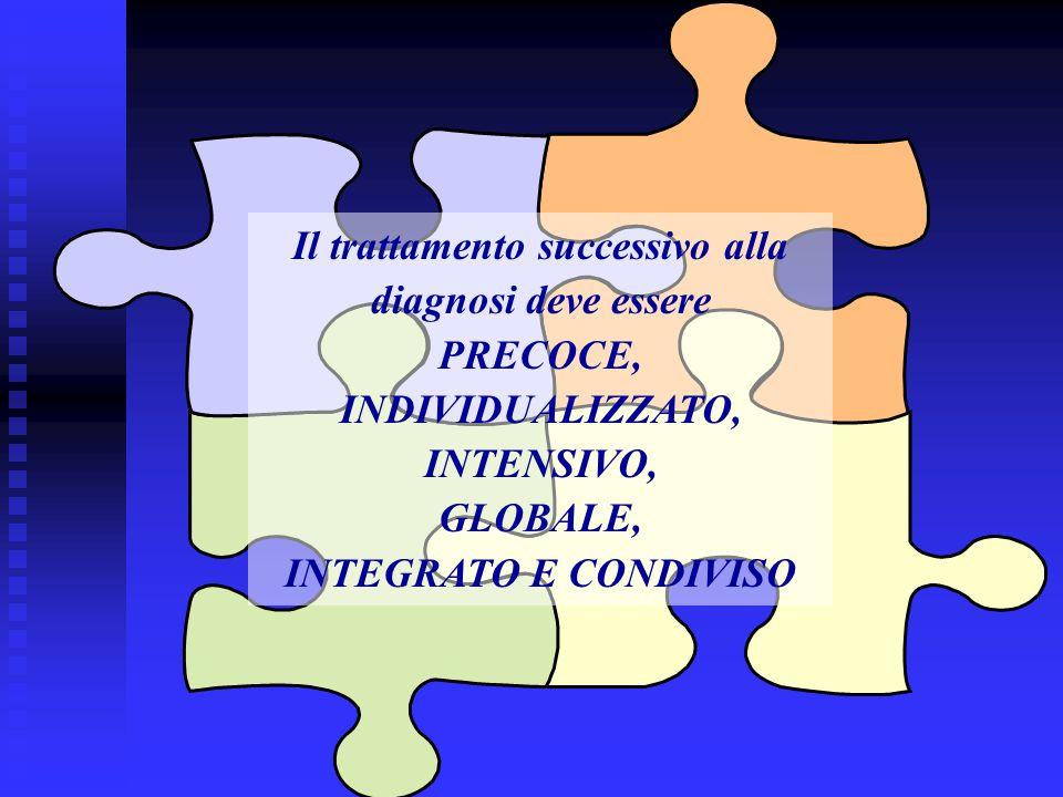 Il trattamento successivo alla diagnosi deve essere PRECOCE, INDIVIDUALIZZATO, INTENSIVO, GLOBALE, INTEGRATO E CONDIVISO