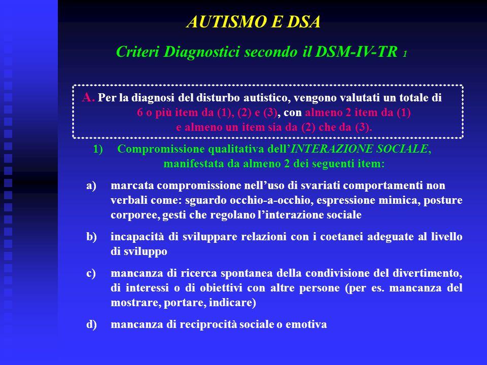 Criteri Diagnostici secondo il DSM-IV-TR 1 A. Per la diagnosi del disturbo autistico, vengono valutati un totale di 6 o più item da (1), (2) e (3), co