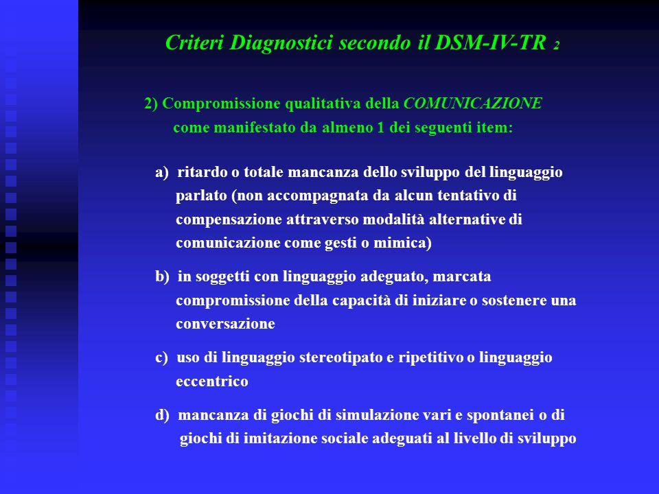 Criteri Diagnostici secondo il DSM-IV-TR 2 2) Compromissione qualitativa della COMUNICAZIONE come manifestato da almeno 1 dei seguenti item: a) ritard