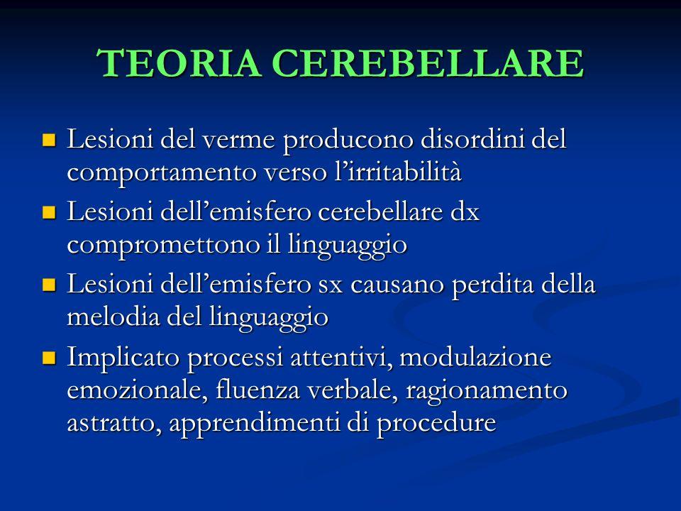 TEORIA CEREBELLARE Lesioni del verme producono disordini del comportamento verso l'irritabilità Lesioni del verme producono disordini del comportamento verso l'irritabilità Lesioni dell'emisfero cerebellare dx compromettono il linguaggio Lesioni dell'emisfero cerebellare dx compromettono il linguaggio Lesioni dell'emisfero sx causano perdita della melodia del linguaggio Lesioni dell'emisfero sx causano perdita della melodia del linguaggio Implicato processi attentivi, modulazione emozionale, fluenza verbale, ragionamento astratto, apprendimenti di procedure Implicato processi attentivi, modulazione emozionale, fluenza verbale, ragionamento astratto, apprendimenti di procedure