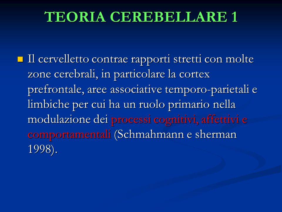 TEORIA CEREBELLARE 1 Il cervelletto contrae rapporti stretti con molte zone cerebrali, in particolare la cortex prefrontale, aree associative temporo-parietali e limbiche per cui ha un ruolo primario nella modulazione dei processi cognitivi, affettivi e comportamentali (Schmahmann e sherman 1998).