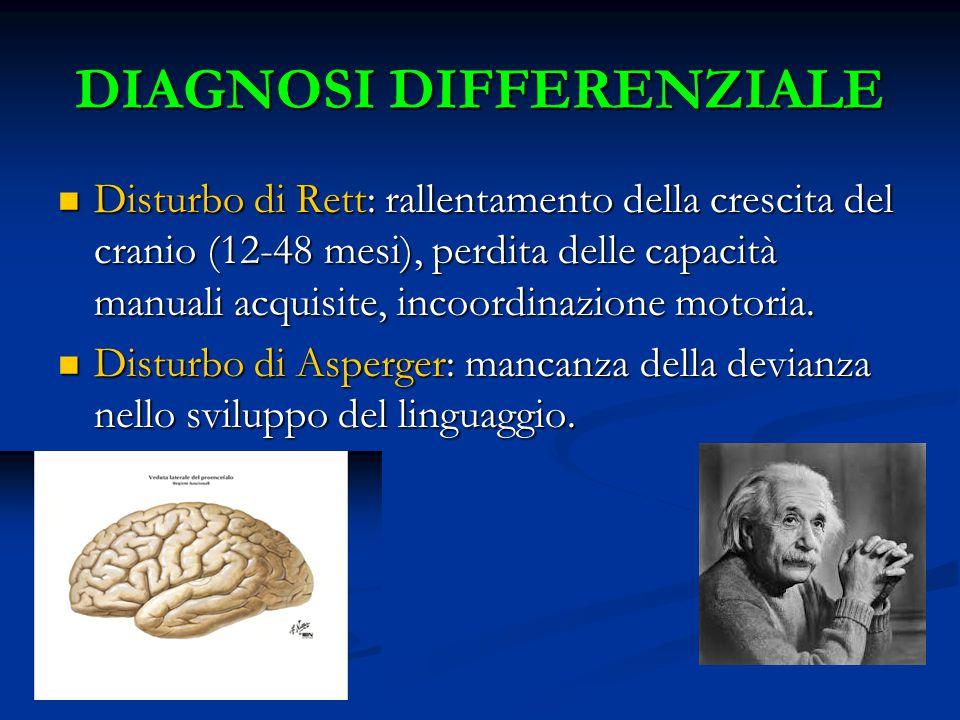 DIAGNOSI DIFFERENZIALE Disturbo di Rett: rallentamento della crescita del cranio (12-48 mesi), perdita delle capacità manuali acquisite, incoordinazione motoria.