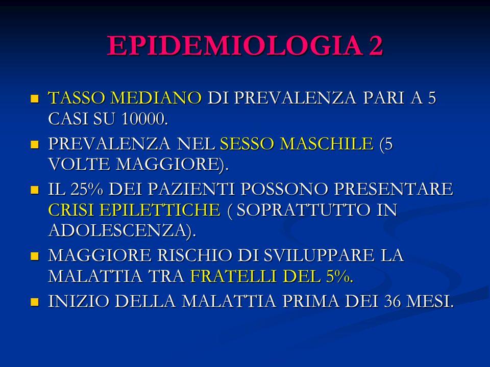 EPIDEMIOLOGIA 2 TASSO MEDIANO DI PREVALENZA PARI A 5 CASI SU 10000. TASSO MEDIANO DI PREVALENZA PARI A 5 CASI SU 10000. PREVALENZA NEL SESSO MASCHILE