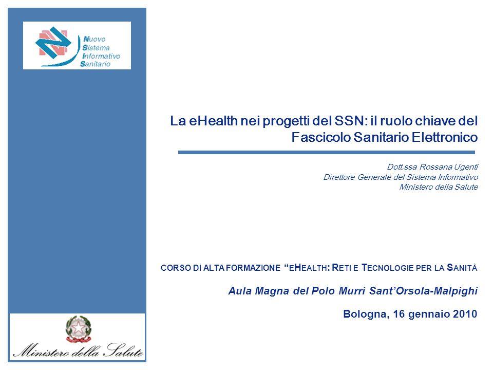 Cabina di Regia 22 Maggio 2008 La eHealth nei progetti del SSN: il ruolo chiave del Fascicolo Sanitario Elettronico Dott.ssa Rossana Ugenti Direttore