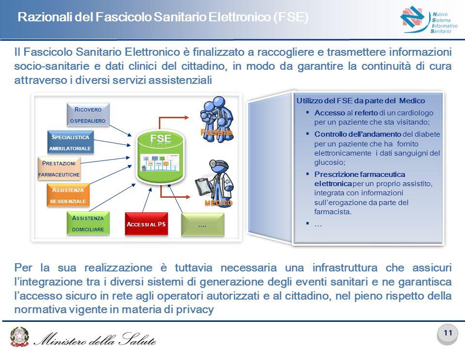 11 Il Fascicolo Sanitario Elettronico è finalizzato a raccogliere e trasmettere informazioni socio-sanitarie e dati clinici del cittadino, in modo da