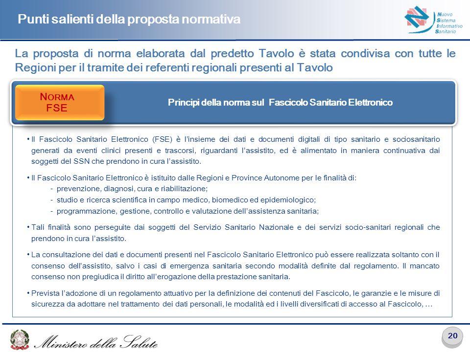 20 Punti salienti della proposta normativa La proposta di norma elaborata dal predetto Tavolo è stata condivisa con tutte le Regioni per il tramite de