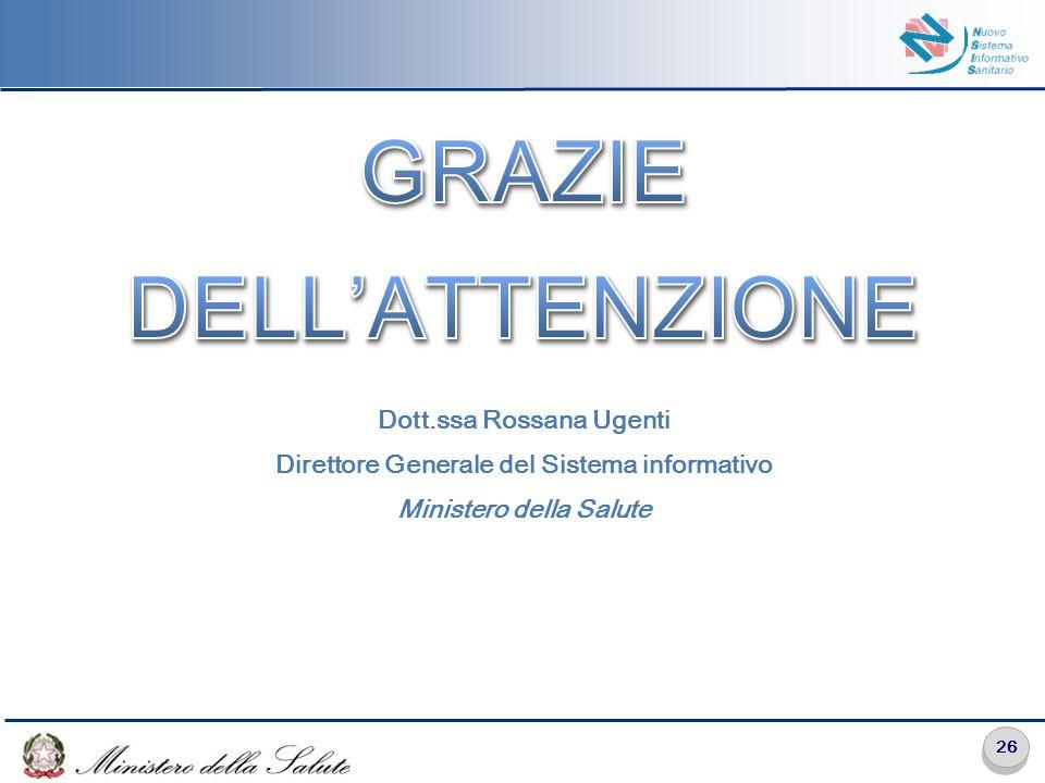 26 Dott.ssa Rossana Ugenti Direttore Generale del Sistema informativo Ministero della Salute