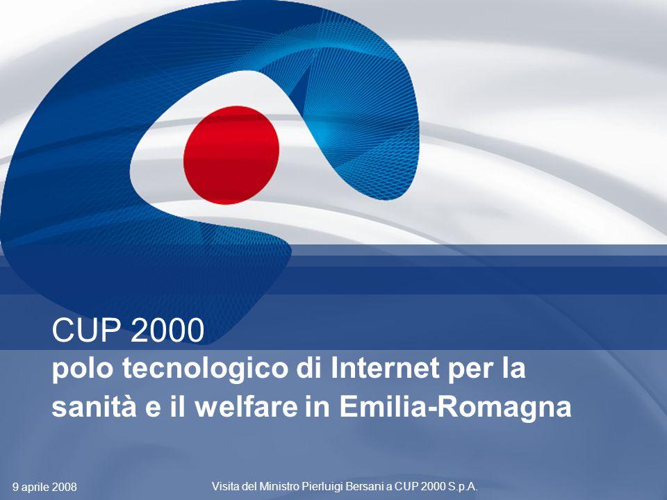 1 CUP 2000 polo tecnologico di Internet per la sanità e il welfare in Emilia-Romagna 9 aprile 2008 Visita del Ministro Pierluigi Bersani a CUP 2000 S.p.A.