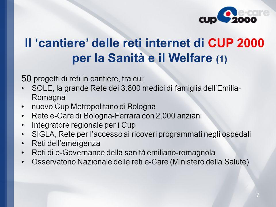 18 Il Ministero della Salute ha affidato alla Regione Emilia- Romagna e a CUP 2000 la realizzazione dell'Osservatorio Nazionale di tutte le reti Internet e-care operative sul territorio nazionale.