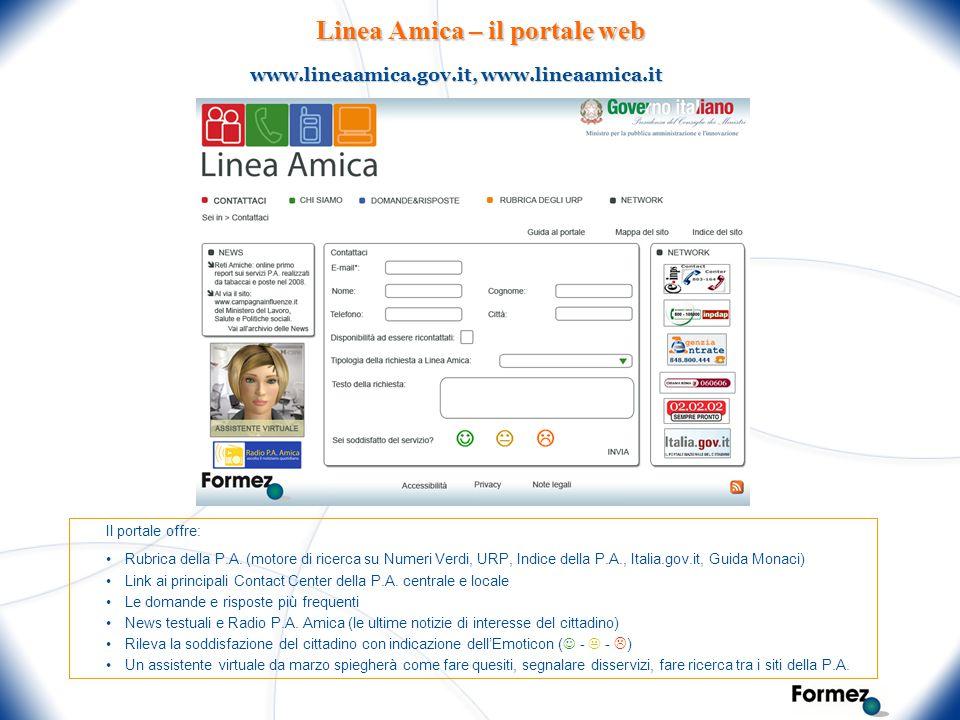 Linea Amica – il portale web Il portale offre: Rubrica della P.A. (motore di ricerca su Numeri Verdi, URP, Indice della P.A., Italia.gov.it, Guida Mon