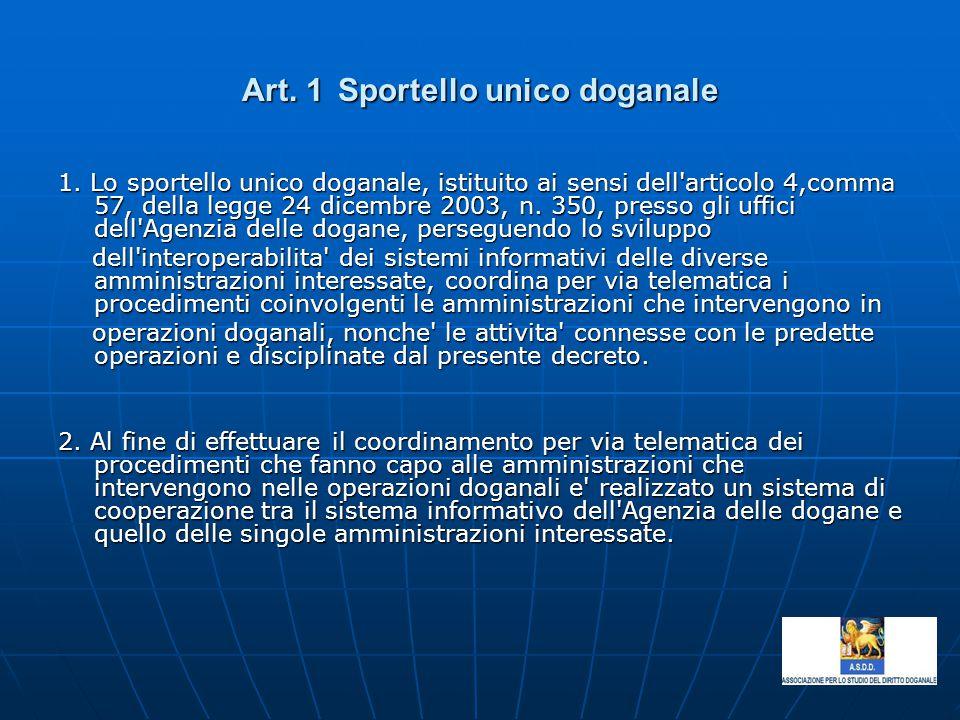 Art. 1Sportello unico doganale 1. Lo sportello unico doganale, istituito ai sensi dell'articolo 4,comma 57, della legge 24 dicembre 2003, n. 350, pres
