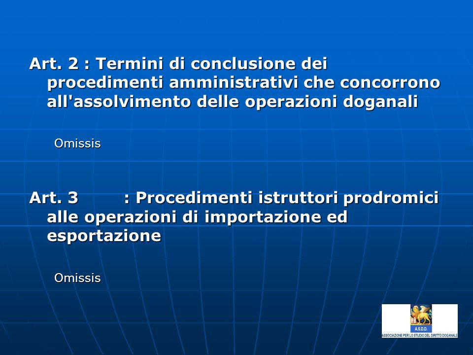 Art. 2 : Termini di conclusione dei procedimenti amministrativi che concorrono all'assolvimento delle operazioni doganali Omissis Omissis Art. 3: Proc