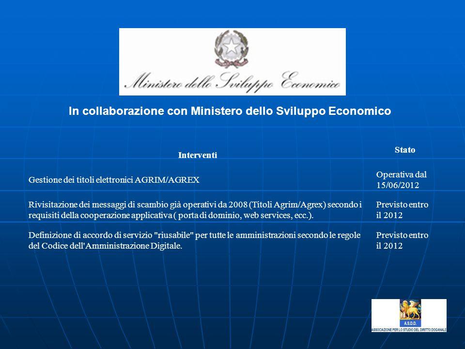 In collaborazione con Ministero dello Sviluppo Economico Interventi Stato Gestione dei titoli elettronici AGRIM/AGREX Operativa dal 15/06/2012 Rivisit