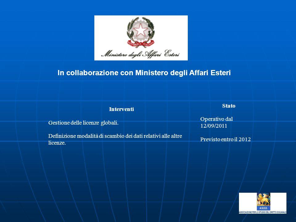 In collaborazione con Ministero degli Affari Esteri Interventi Stato Gestione delle licenze globali. Operativo dal 12/09/2011 Definizione modalità di