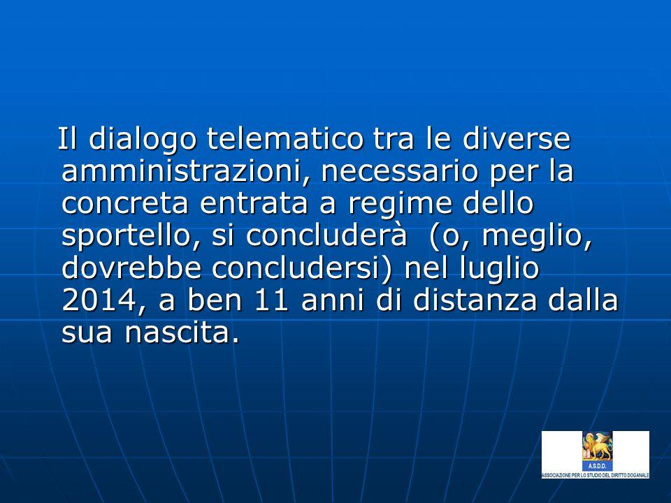Il dialogo telematico tra le diverse amministrazioni, necessario per la concreta entrata a regime dello sportello, si concluderà (o, meglio, dovrebbe