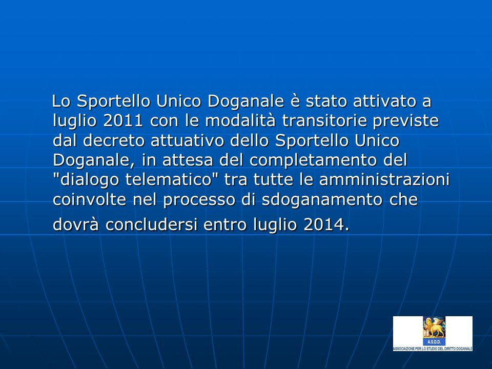 Lo Sportello Unico Doganale è stato attivato a luglio 2011 con le modalità transitorie previste dal decreto attuativo dello Sportello Unico Doganale, in attesa del completamento del dialogo telematico tra tutte le amministrazioni coinvolte nel processo di sdoganamento che dovrà concludersi entro luglio 2014.