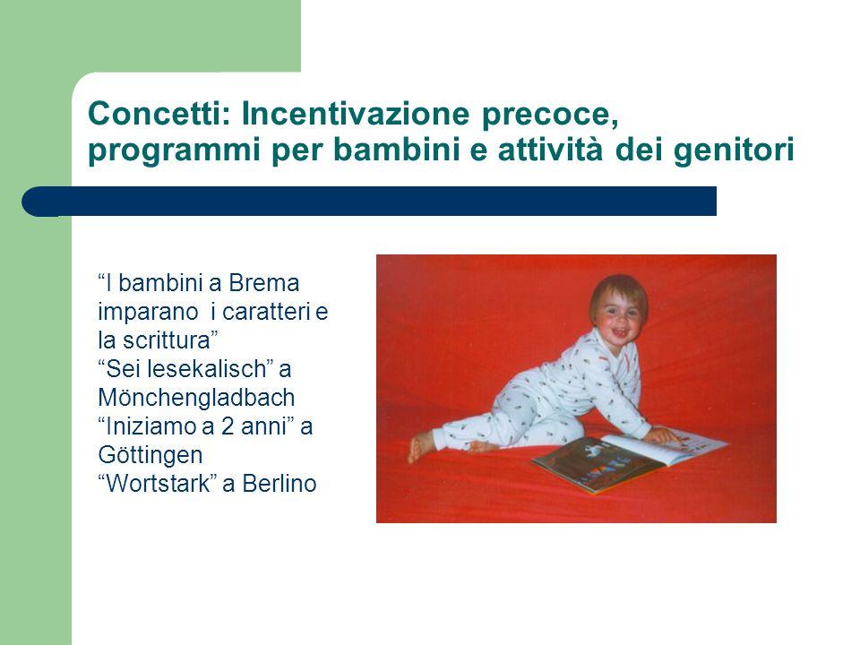 """Concetti: Incentivazione precoce, programmi per bambini e attività dei genitori """"I bambini a Brema imparano i caratteri e la scrittura"""" """"Sei lesekalis"""