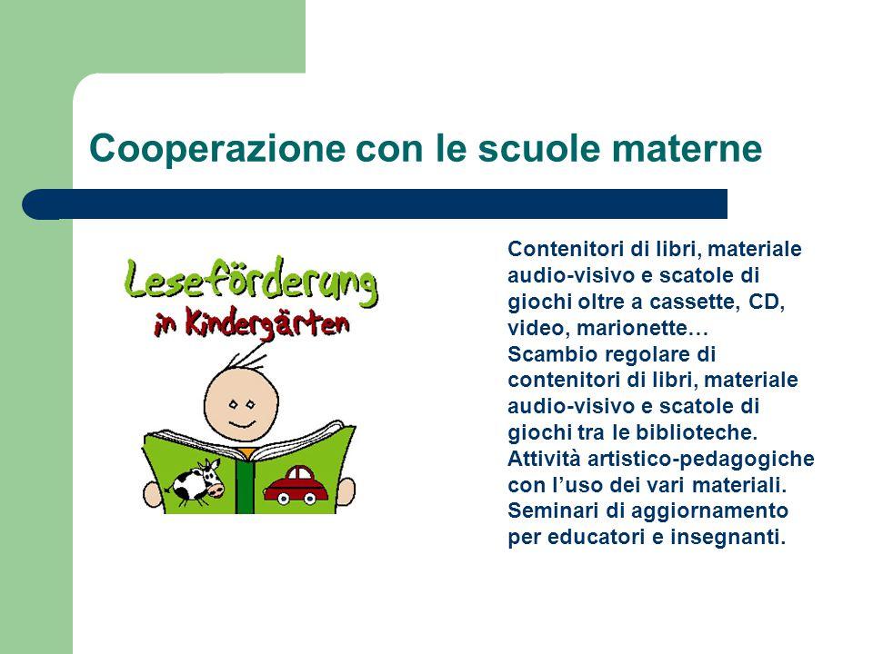 Cooperazione con le scuole materne Contenitori di libri, materiale audio-visivo e scatole di giochi oltre a cassette, CD, video, marionette… Scambio r