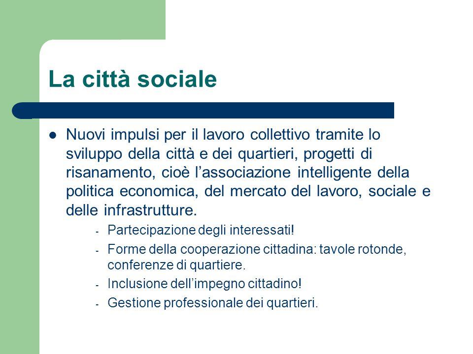 La città sociale Nuovi impulsi per il lavoro collettivo tramite lo sviluppo della città e dei quartieri, progetti di risanamento, cioè l'associazione