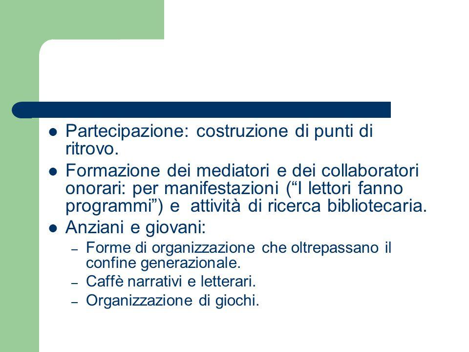 """Partecipazione: costruzione di punti di ritrovo. Formazione dei mediatori e dei collaboratori onorari: per manifestazioni (""""I lettori fanno programmi"""""""