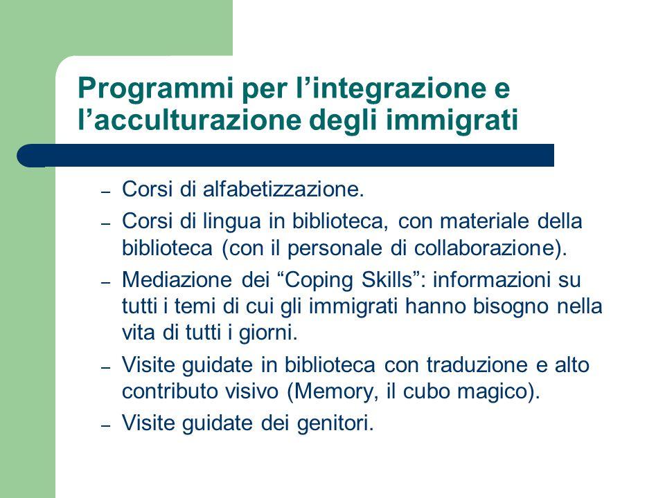 Programmi per l'integrazione e l'acculturazione degli immigrati – Corsi di alfabetizzazione. – Corsi di lingua in biblioteca, con materiale della bibl