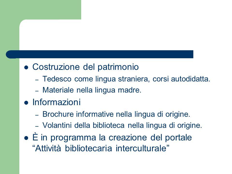 Costruzione del patrimonio – Tedesco come lingua straniera, corsi autodidatta. – Materiale nella lingua madre. Informazioni – Brochure informative nel