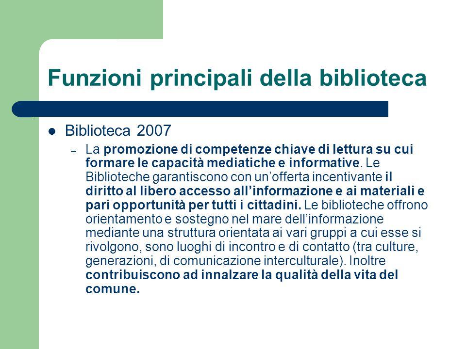 Funzioni principali della biblioteca Biblioteca 2007 – La promozione di competenze chiave di lettura su cui formare le capacità mediatiche e informati