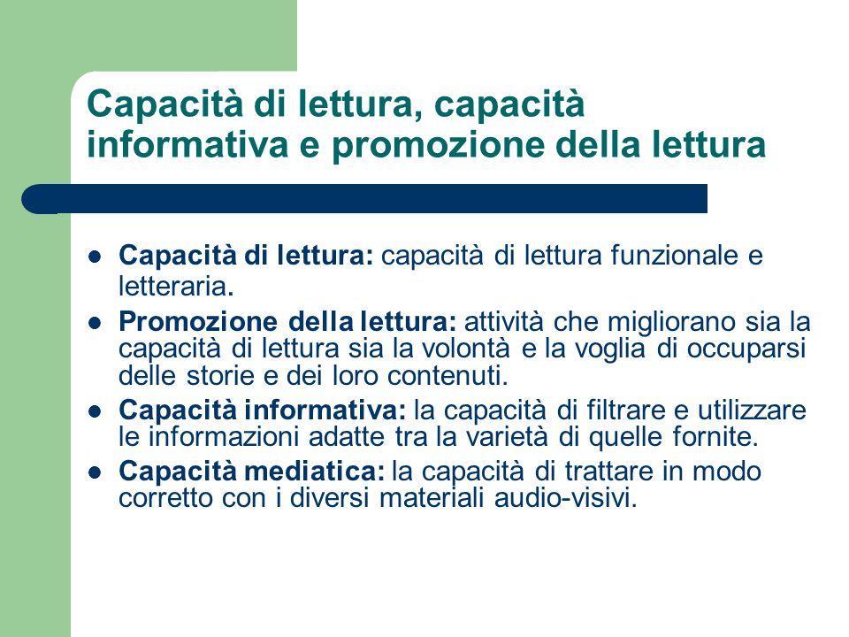 Capacità di lettura, capacità informativa e promozione della lettura Capacità di lettura: capacità di lettura funzionale e letteraria. Promozione dell