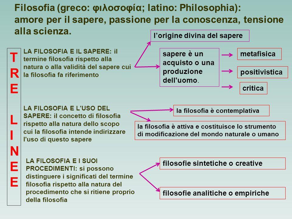 Filosofia (greco: φιλοσοφία; latino: Philosophia): amore per il sapere, passione per la conoscenza, tensione alla scienza. LA FILOSOFIA E IL SAPERE: i