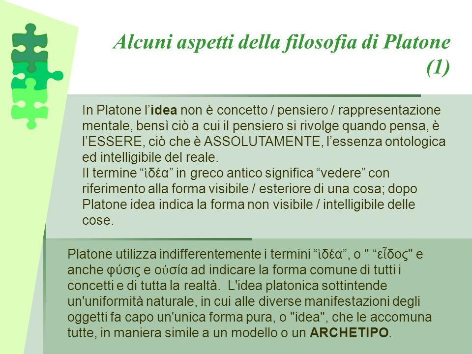 Alcuni aspetti della filosofia di Platone (1) In Platone l'idea non è concetto / pensiero / rappresentazione mentale, bensì ciò a cui il pensiero si r
