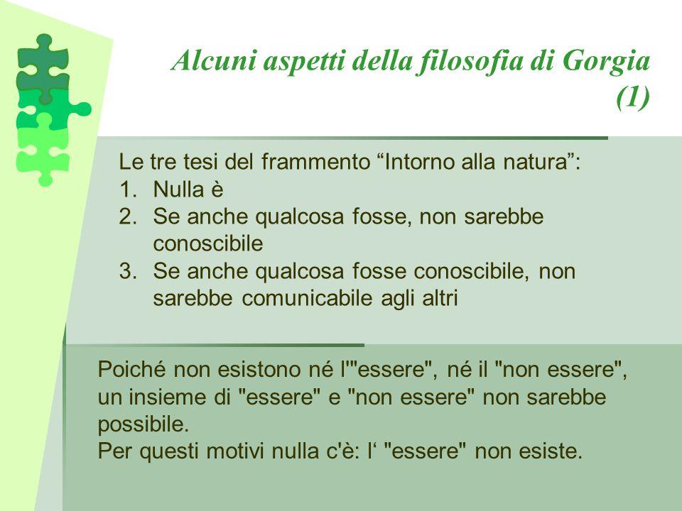 """Alcuni aspetti della filosofia di Gorgia (1) Le tre tesi del frammento """"Intorno alla natura"""": 1.Nulla è 2.Se anche qualcosa fosse, non sarebbe conosci"""
