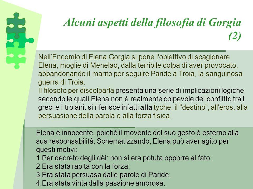 Alcuni aspetti della filosofia di Gorgia (2) Nell'Encomio di Elena Gorgia si pone l'obiettivo di scagionare Elena, moglie di Menelao, dalla terribile