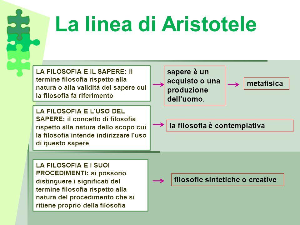 La linea di Aristotele LA FILOSOFIA E IL SAPERE: il termine filosofia rispetto alla natura o alla validità del sapere cui la filosofia fa riferimento