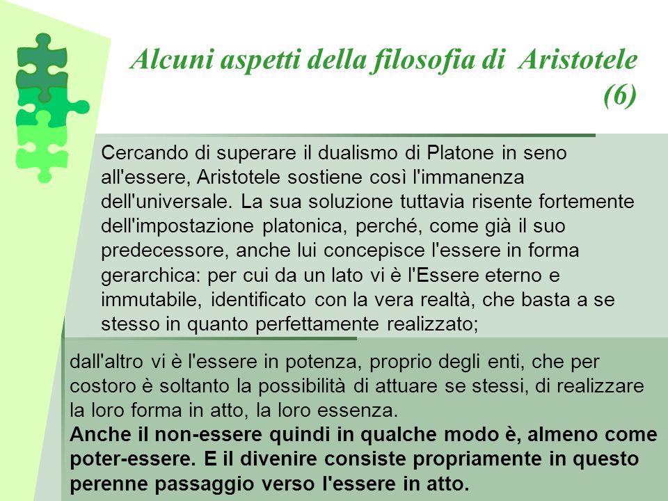 Alcuni aspetti della filosofia di Aristotele (6) Cercando di superare il dualismo di Platone in seno all'essere, Aristotele sostiene così l'immanenza