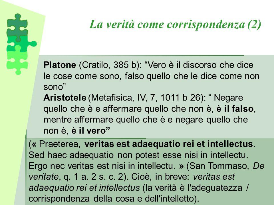 La verità come corrispondenza (2) (« Praeterea, veritas est adaequatio rei et intellectus. Sed haec adaequatio non potest esse nisi in intellectu. Erg