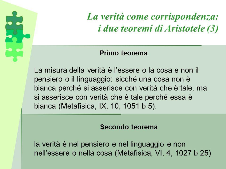 Secondo teorema la verità è nel pensiero e nel linguaggio e non nell'essere o nella cosa (Metafisica, VI, 4, 1027 b 25) La verità come corrispondenza: