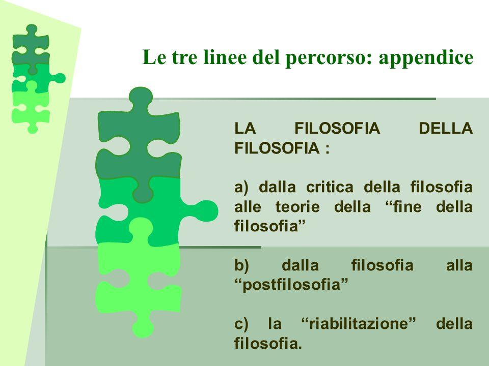 """Le tre linee del percorso: appendice LA FILOSOFIA DELLA FILOSOFIA : a) dalla critica della filosofia alle teorie della """"fine della filosofia"""" b) dalla"""