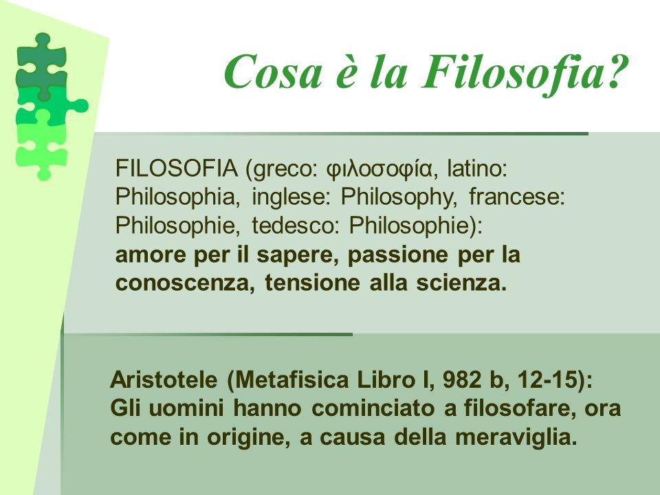 Cosa è la Filosofia? FILOSOFIA (greco: φιλοσοφία, latino: Philosophia, inglese: Philosophy, francese: Philosophie, tedesco: Philosophie): amore per il