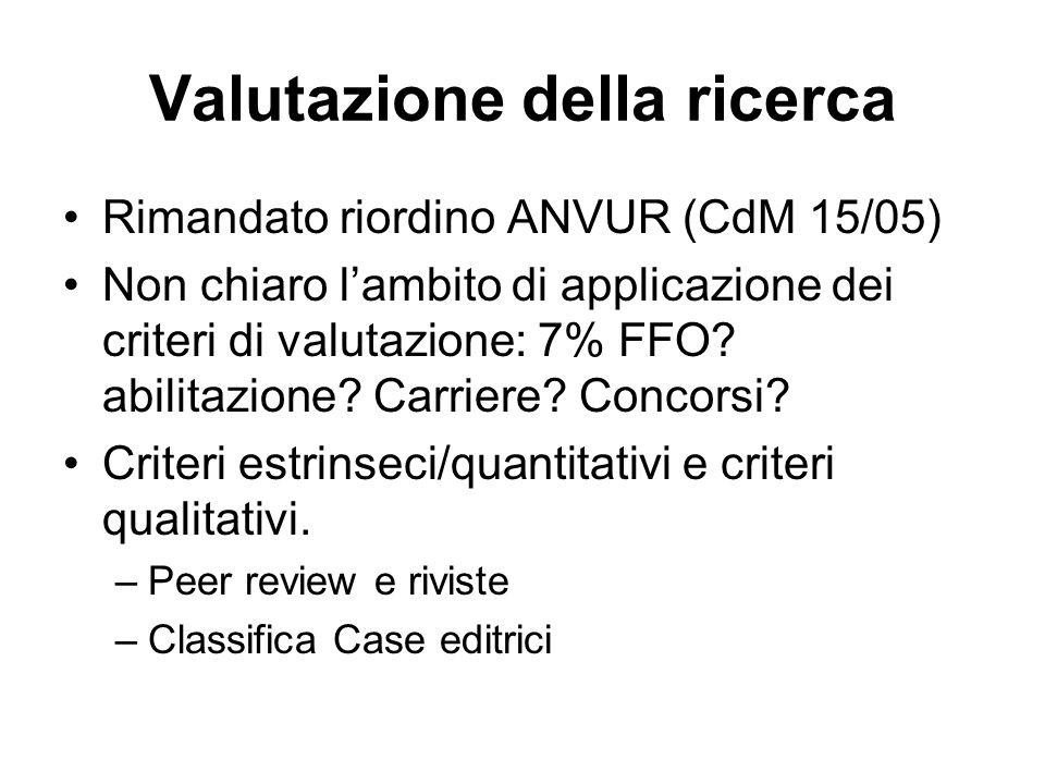 Valutazione della ricerca Rimandato riordino ANVUR (CdM 15/05) Non chiaro l'ambito di applicazione dei criteri di valutazione: 7% FFO.