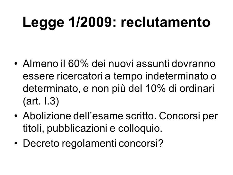 Legge 1/2009: reclutamento Almeno il 60% dei nuovi assunti dovranno essere ricercatori a tempo indeterminato o determinato, e non più del 10% di ordinari (art.