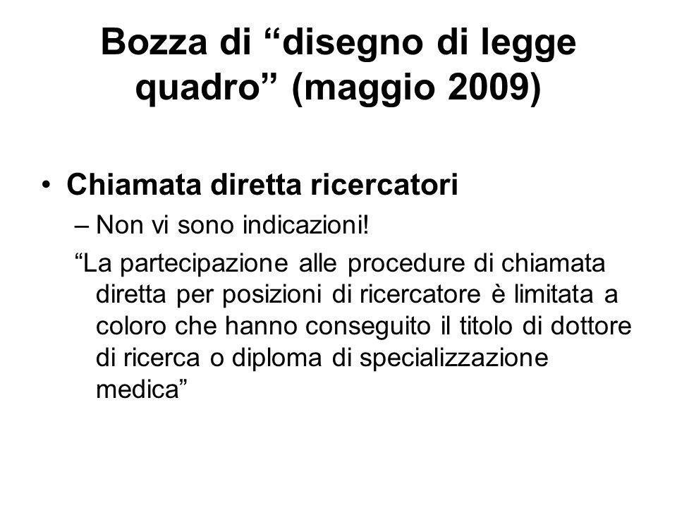 Bozza di disegno di legge quadro (maggio 2009) Chiamata diretta ricercatori –Non vi sono indicazioni.